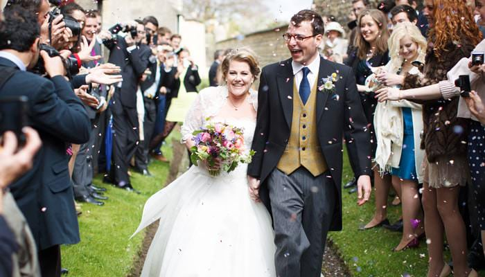 Photograph of Bride and Groom Leaving Church