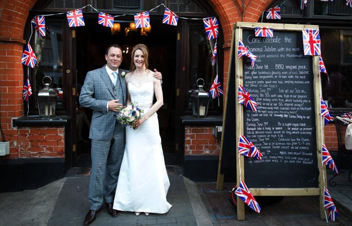 Wedding Photograph Richmond with Flags