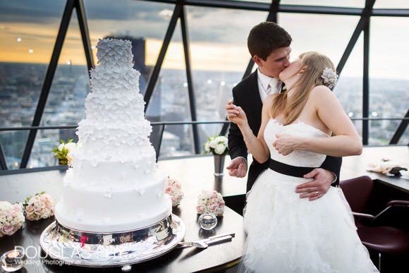 cake cuting and kiss in London