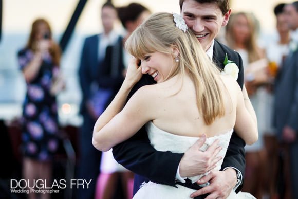 Wedding photography at the Gherkin - couple dancing