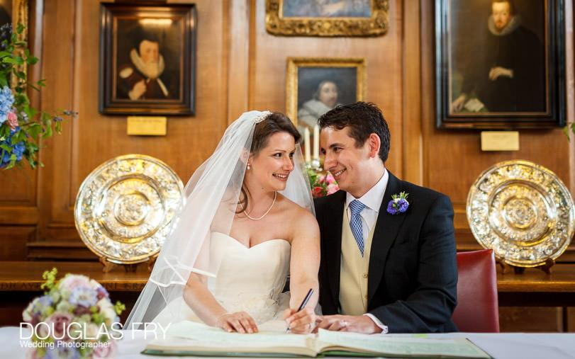 Signing the Register at Grays Inn London wedding
