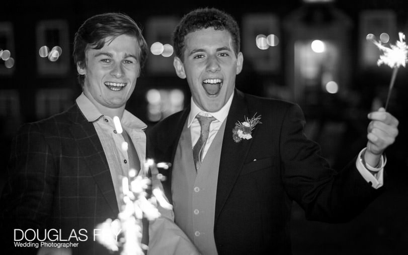 sparklers photographed at London wedding