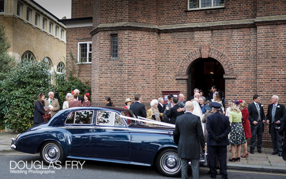 Wedding car in front of Chelsea old church