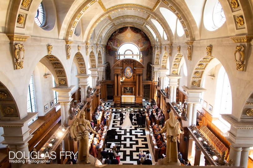 Wedding Photographer St Brides Church London - Church service