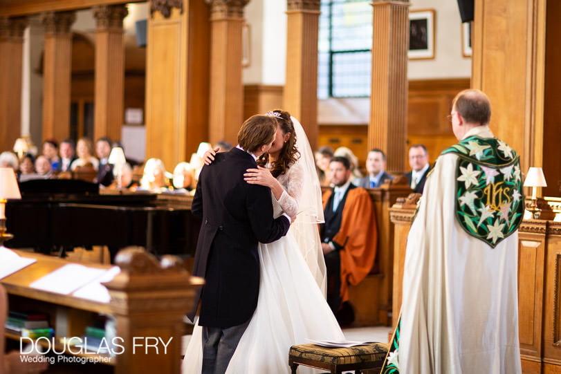 Wedding Photographer St Brides Church London - Kiss
