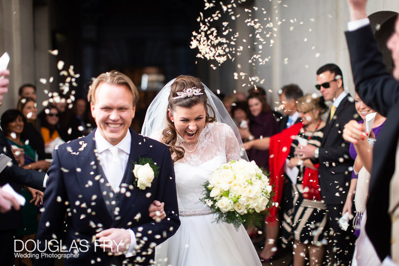 Wedding Photographer St Brides Church London - confetti