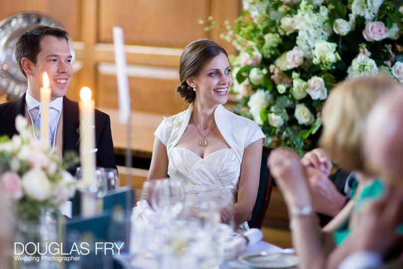 Wedding Photographer Gray's Inn - reception - couple at dinner