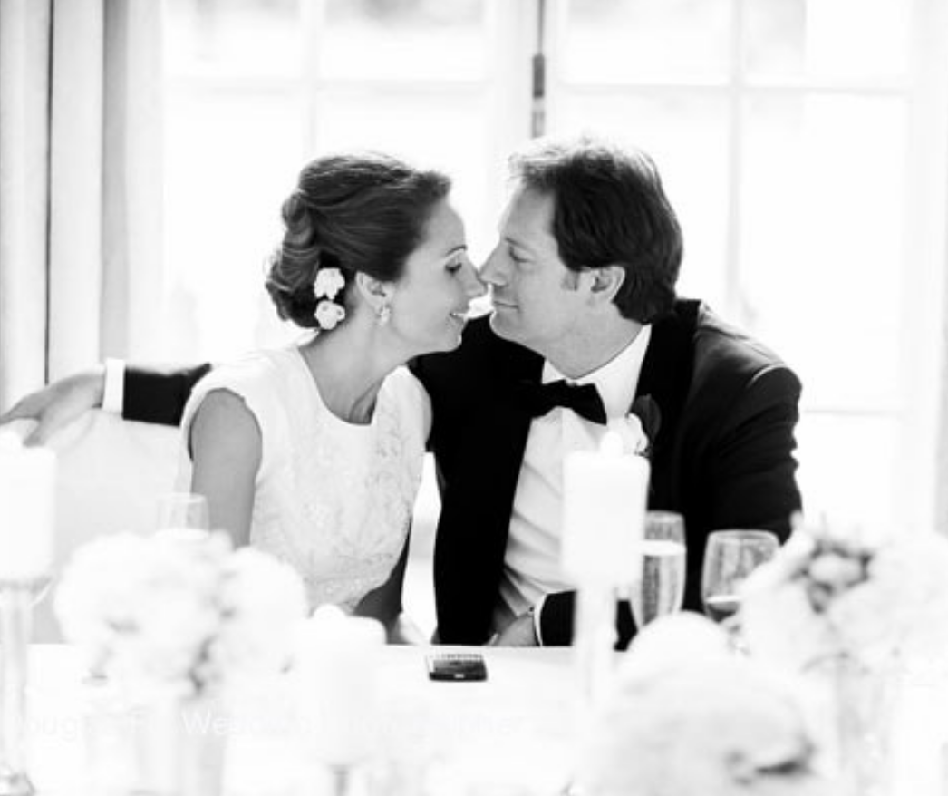 Couple photographed during wedding breakfast at Mandarin Oriental in London