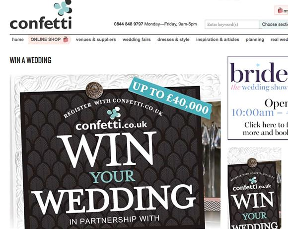 Win a wedding competiton with confetti