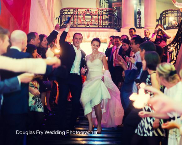 Wedding Photograph Bride and Groom leaving - Sparklers