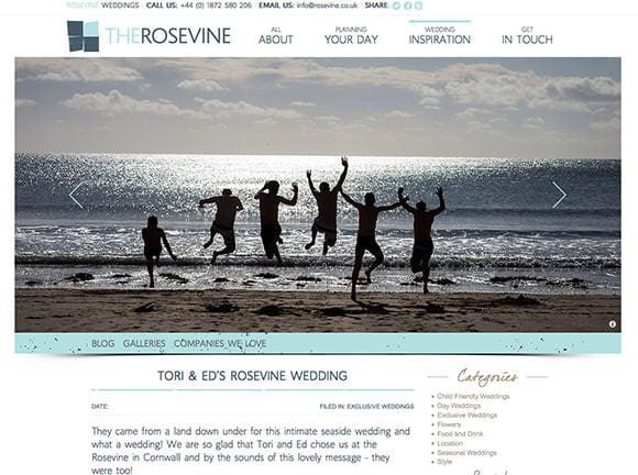 Hotel Blog on website about wedding