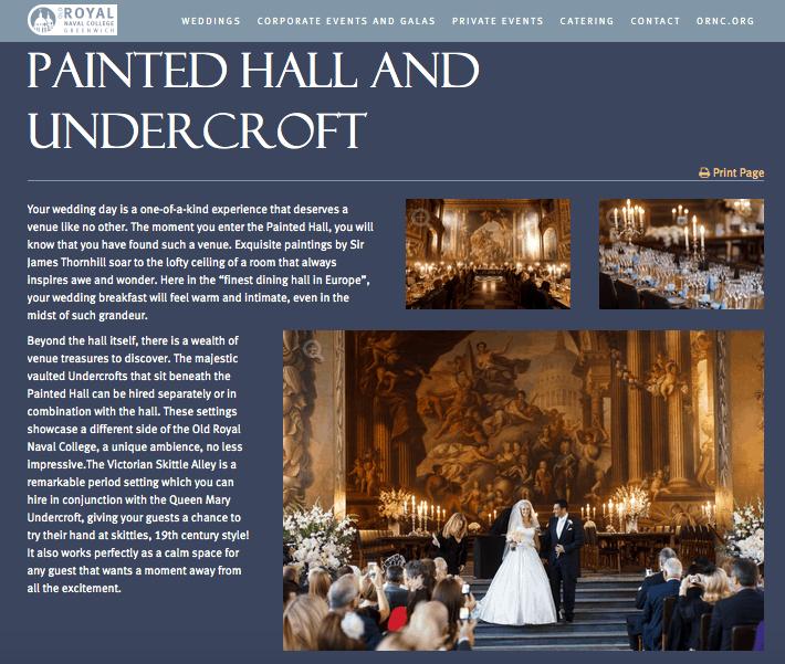 Website Old Royal Naval College - Douglas Fry's Wedding Photographs