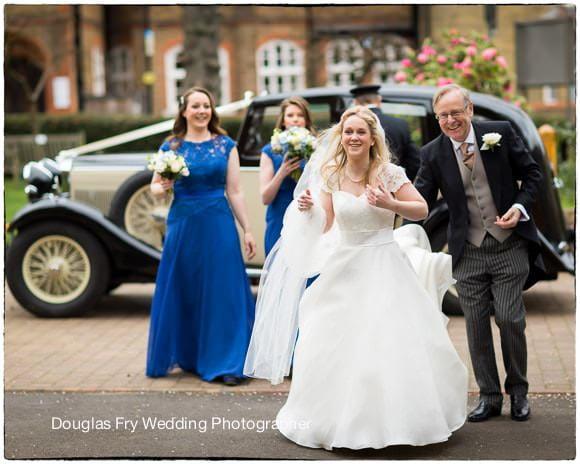 Wedding Photograph bride arriving at church - London
