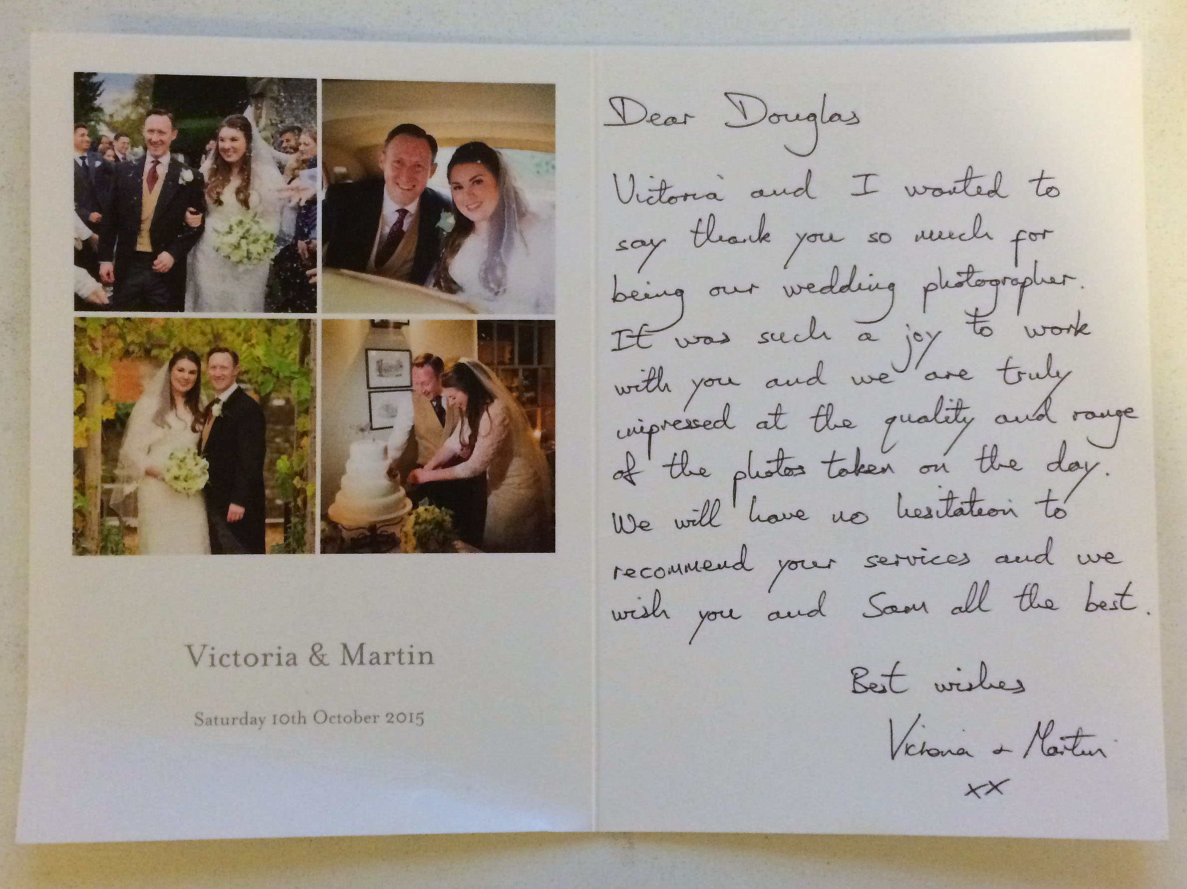 thank you letter for wedding photgraphs