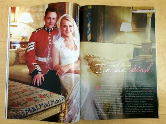 Photograph of bride and groom at Syon appearing as double page spread in magazine article