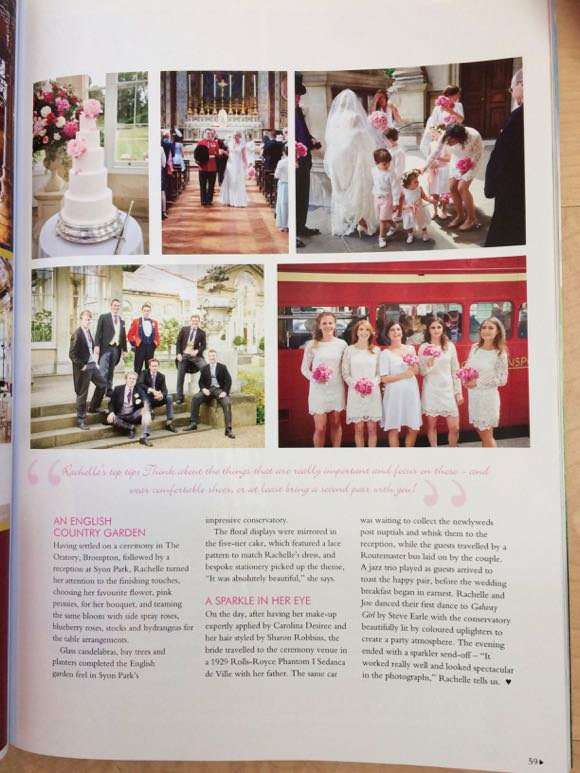 Coverage of wedding in magazine. Photograph of bridesmaids and cake.