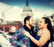 Anniversary photography in London of US couple