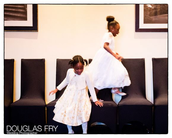 Children playing at Selsdon golf club during wedding reception