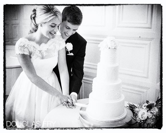 Cutting the cake photograph in black and white