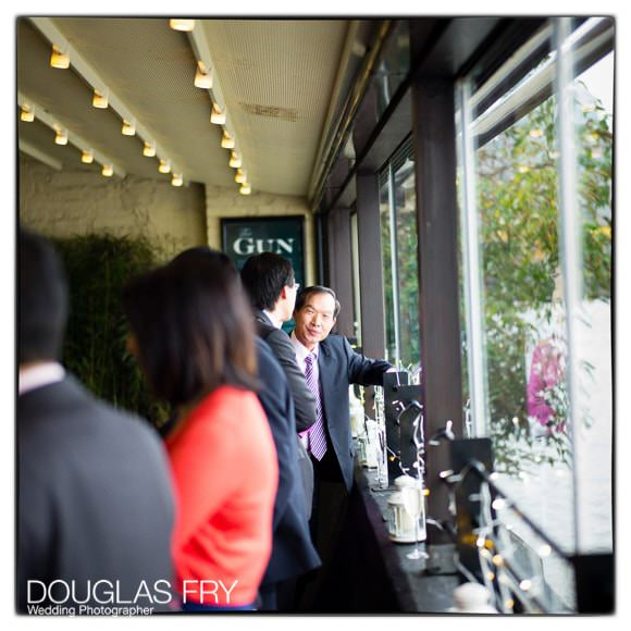 Guests at the Gun in Docklands during wedding reception
