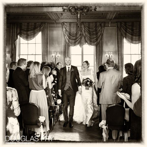 couple leaving ceremony - walking down the aisle -