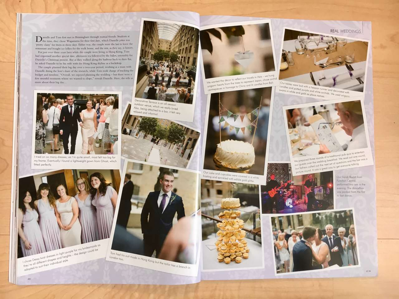 Photographs of wedding at Devonshire Place by Douglas Fry in magazine feature