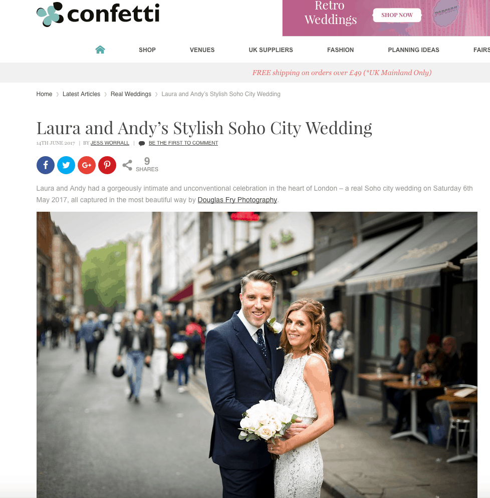 Screen grab showing Confetti article on their website