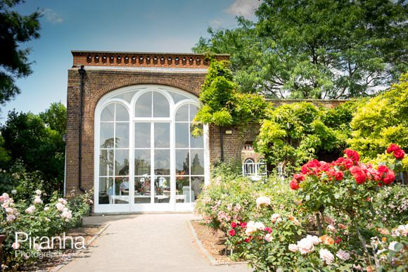 Outside view of the Orangery in Holland Park during party
