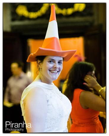 traffic cone on bride's head at wedding recepiton! Dressing up fun...