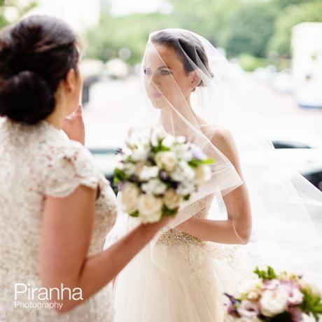 Bride outside Church in Marylebone