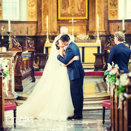 Bride and groom during wedding ceremony in Marylebone