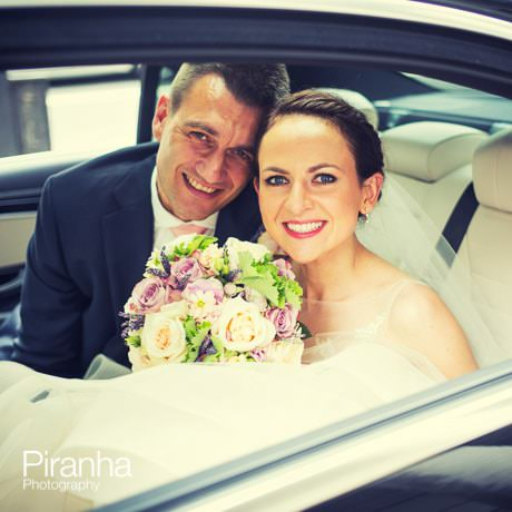 Couple leaving the church by car