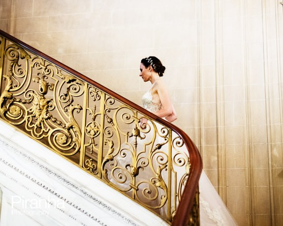 Bride on stairs at No4 Hamilton Place