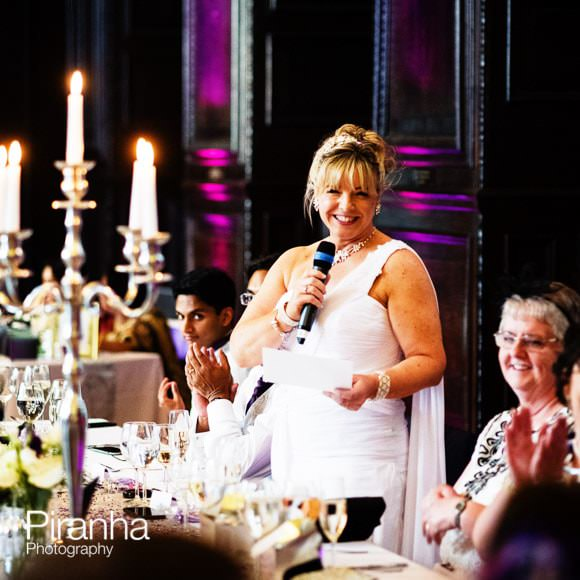Bride makind speech at wedding at Stationers' Hall in London