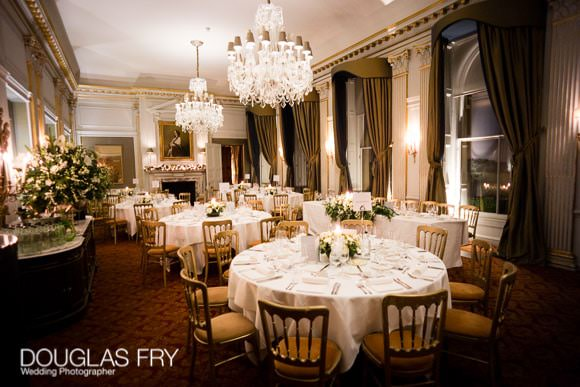 Tables ready for wedding reception at Cliveden House