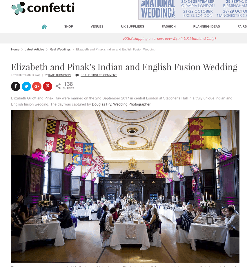 Confetti.co.uk feature of Douglas Fry wedding on their website
