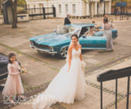 Photography of bride outside church before wedding