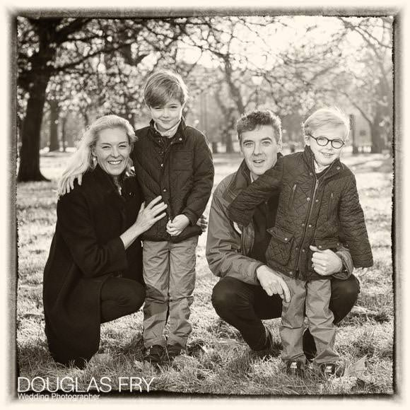 Family photographed together on Clapham Common