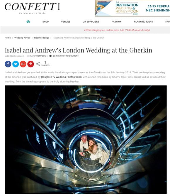 Real Wedding Feature on Confetti's website featuring photography by Douglas Fry