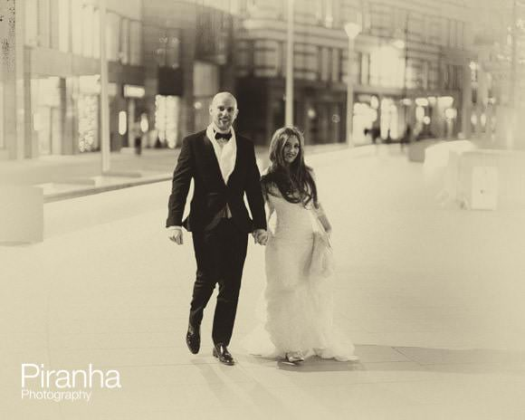 Bride and groom outside in London streets