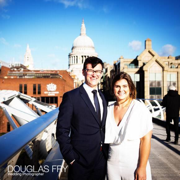 Wedding photograph on Millennium Bridge in London with St Pauls