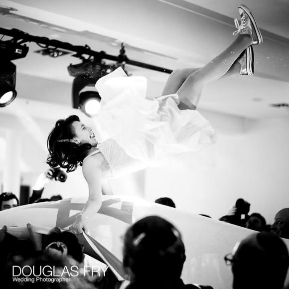 Bat Mitzvah - the dancing - black and white photograph