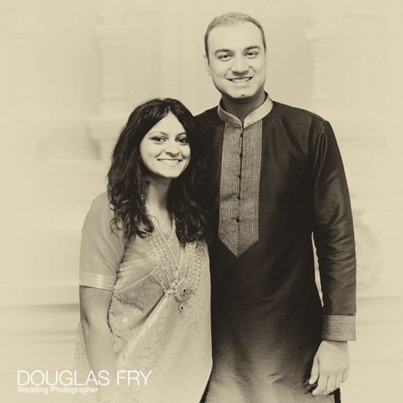 Hindu couple photographed at engagement ceremony
