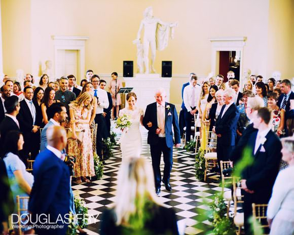 father and bride arriving for ceremony at Syon House