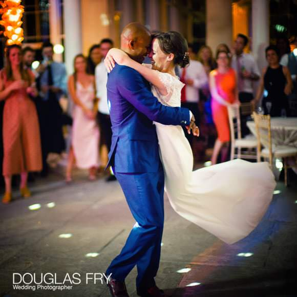 Photograph of bride and groom dancing at Syon wedding in the Great Conservatory