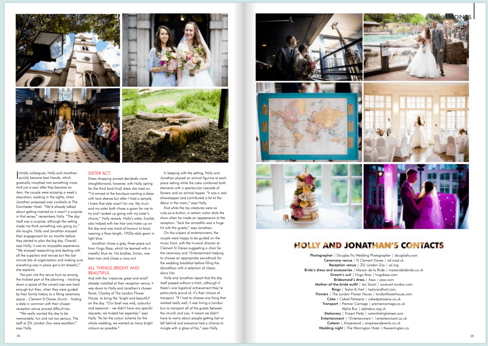 Feature discussing the wedding in Your London Wedding Magazine
