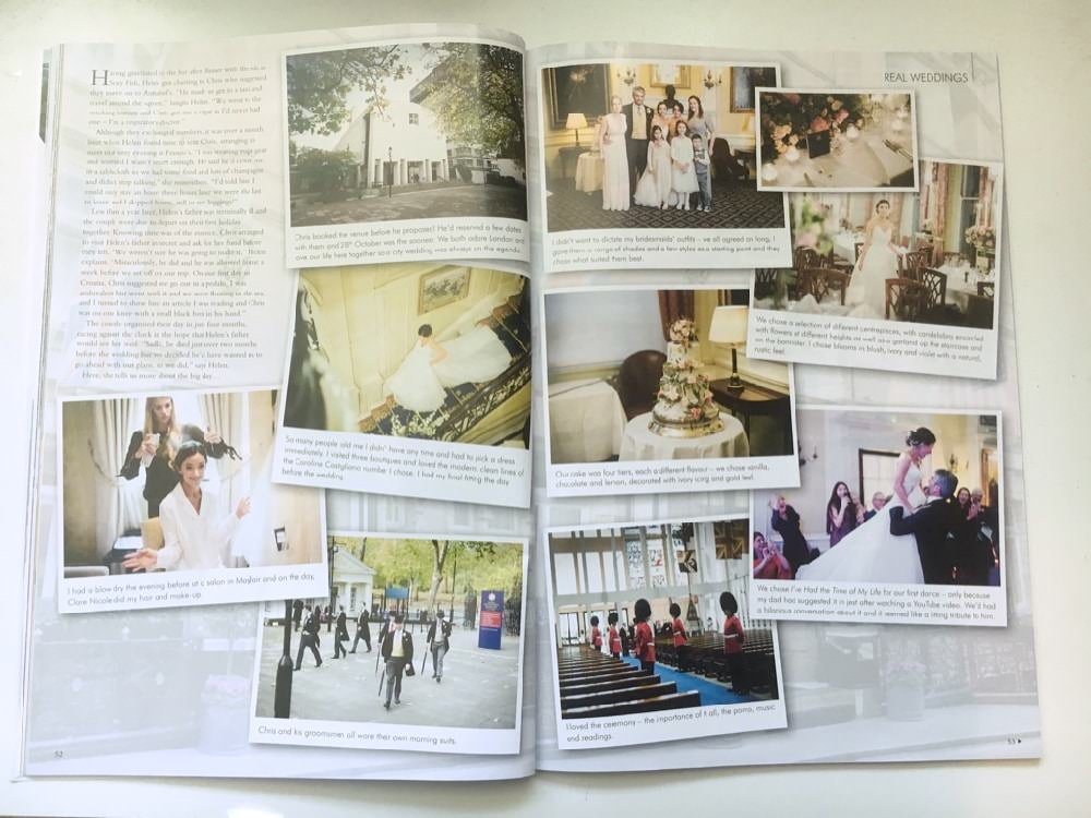 Magazine feature showing spread of wedding photographs by Douglas Fry and accompanying article