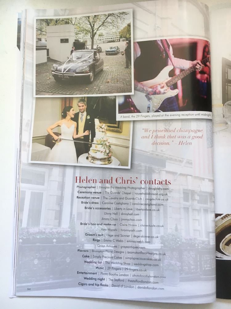London Wedding Magazine Article - List of suppliers