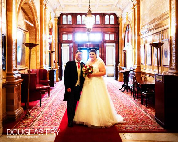Couple near door at Horseguards Hotel in London