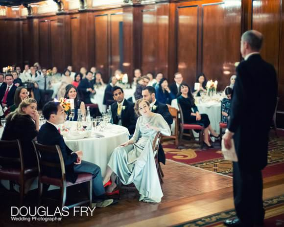 Photograph of speeches during wedding breakfast/reception